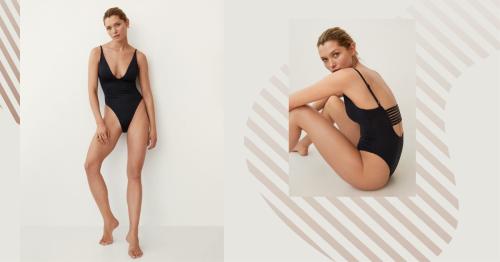 Hay un bañador negro de Mango ideal para chicas bajitas porque alarga las piernas y estiliza un montón