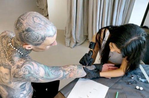 Kourtney Kardashian Gives BF Travis Barker 'I Love You' Tattoo on His Arm: 'Woman of Many Talents'