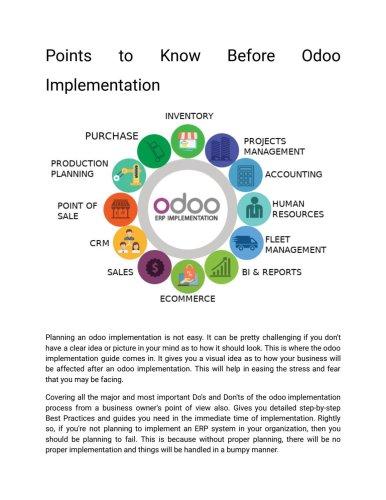 Points to Know Before Odoo Implementation