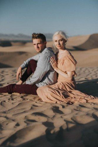 Ethereal Imperial Sand Dunes Engagement Photos   Junebug Weddings