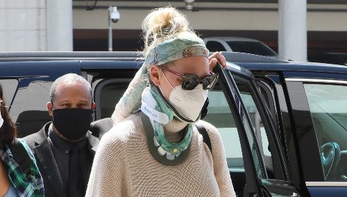 Katherine Heigl Wears a Neck Brace While Flying Out of L.A. After Recent Injury