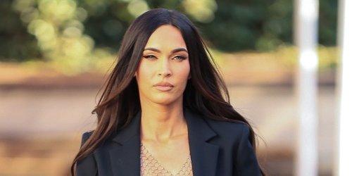 Megan Fox Goes Shirtless Under a Black Blazer After A Photo Shoot