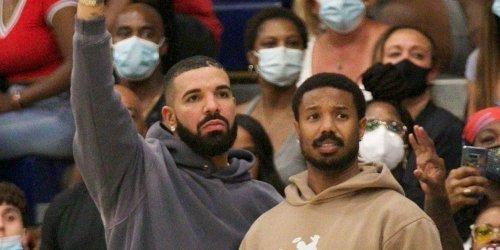 Drake & Michael B. Jordan Sit Courtside at a Varsity Basketball Game in L.A.