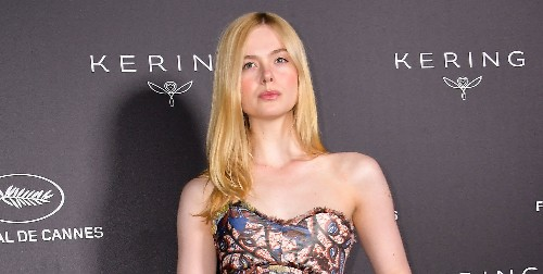 Elle Fanning Wears a Painting on Her Dress at Kering Women In Motion Awards 2019
