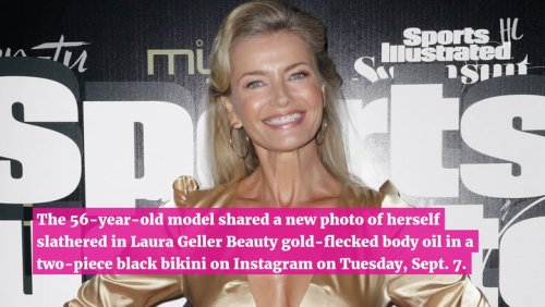 Paulina Porizkova Rocks Black Bikini While 'Slathered' In Gold-flecked Body Oil