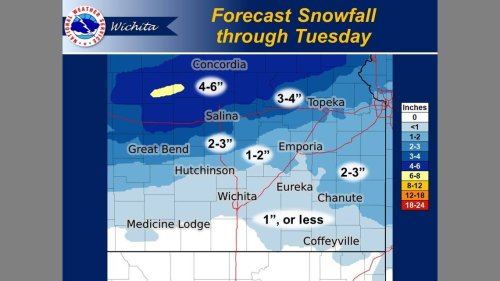 Up to 6 inches of snow possible in parts of Kansas. Here's what NWS predicts near you.