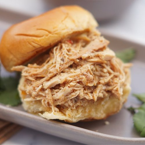 Slow Cooker Shredded Chicken Sandwiches