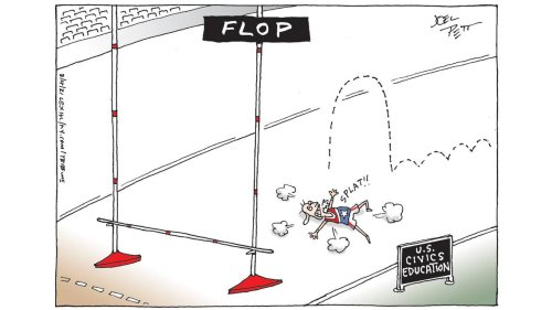 Joel Pett says even with a low bar, America won't medal in civics education