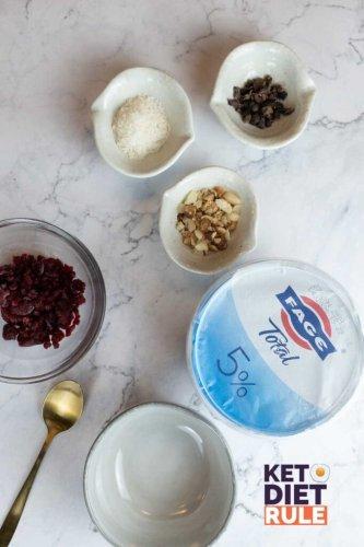 Keto Yogurt Recipe with Raspberry and Crushed Nuts