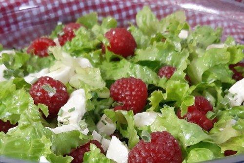 Schneller Keto Salat - Himbeeren und Ziegenkäse
