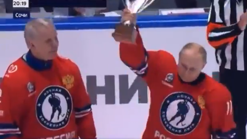 Vladimir Putin 'scores' eight goals in Russian hockey game