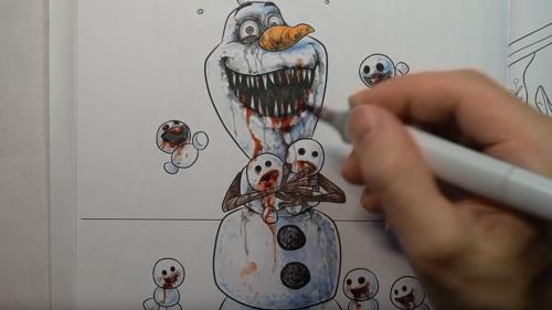Horror artist turns Frozen coloring book into catalog of terror