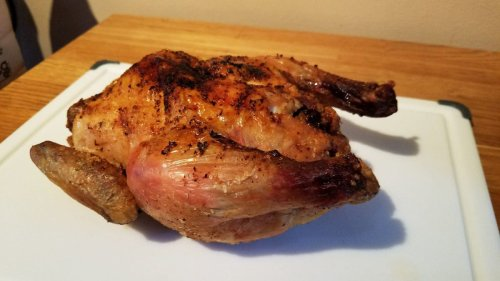 How do you air fry a whole chicken? Just plop it in there