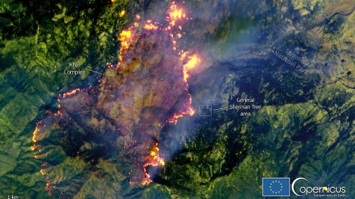 Satellite Image Shows KNP Complex Fire Close to General Sherman