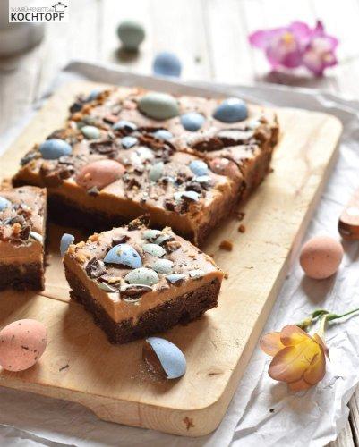 Oster-Brownies mit Ganache aus karamellisierter weisser Schokolade