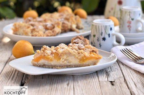 Einfacher Streuselkuchen mit Mispeln & Vanillepudding