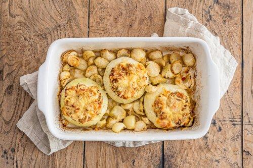 Gefüllte gebackene Kohlrabi | vegetarisch | ohne Vorkochen | auch für den Airfryer