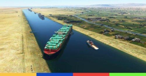 Le cargo qui coince le canal de Suez a été rajouté dans Flight Simulator | Konbini
