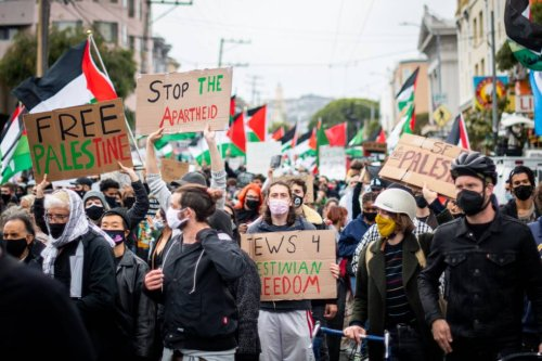 Thousands March for 'Free Palestine' in San Francisco as Airstrikes and Rocket Attacks Continue | KQED