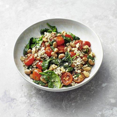 Buchweizen mit Spinat und Bohnen