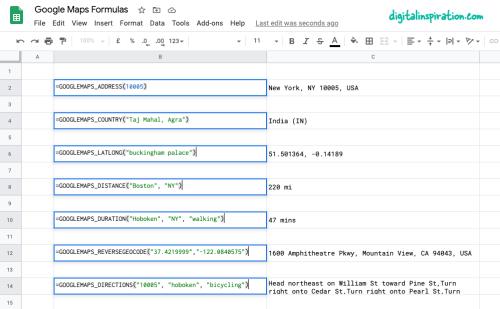 Google Maps Formulas for Google Sheets