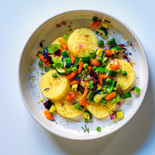 Gnocchi alla Romana With Vegetables and Flower Petals