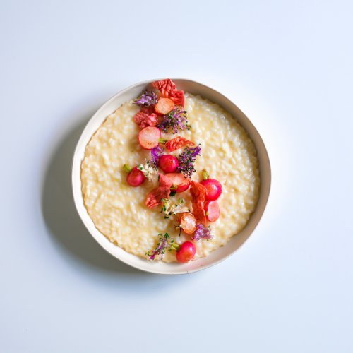 Pressure Cooker Risotto With Sour Butter and Radishes