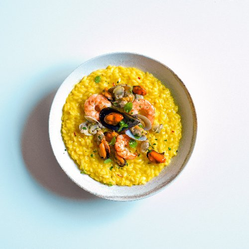 "Risotto ""alla Pilota"" With Saffron and Frutti di Mare"