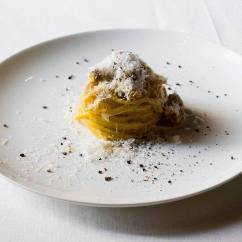 Carbonara (with Grappa!) by Chef Luciano Monosilio