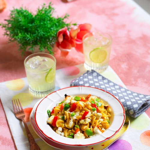 Pasta With Peppers, Fava Beans, and Ricotta