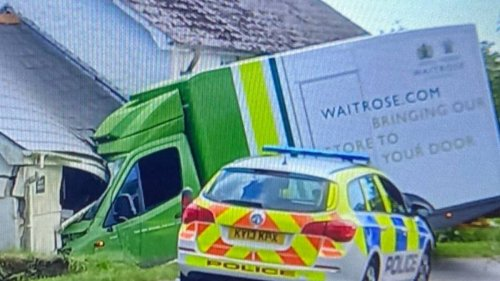 Waitrose 'Bringing Our Store To Your Front Door' Delivery Van Smashes Into House