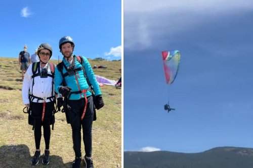 Jordan North calls for his Lancashire 'happy place' while paragliding in Spain
