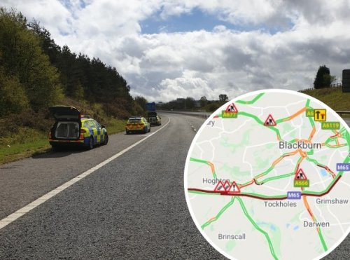 Stolen Jaguar being chased by police crashes on M65, while two further incidents cause 7 miles of tailbacks