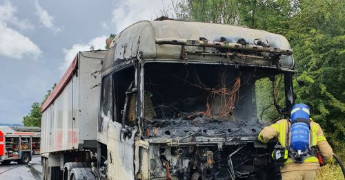 Driver's lucky escape after HGV goes up in flames shutting road