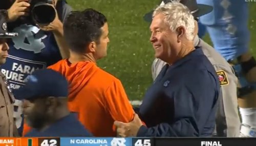 Manny Diaz did not enjoy his handshake with Mack Brown