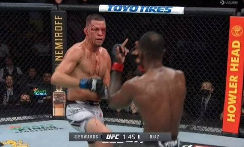 Look: Leon Edwards flips off Nate Diaz after glove touch denial