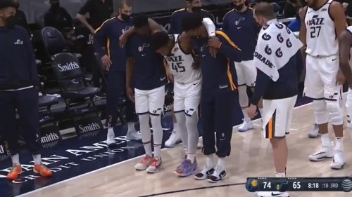Donovan Mitchell helped off floor after suffering ankle injury