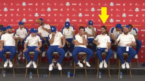 What did Tommy Fleetwood do in the Europe team room at Ryder Cup?