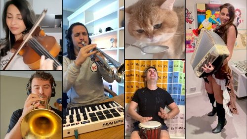 Musician Hilariously Remixes a Noisy Cat Saying 'Num Num' While He Drinks Into a Catchy Instrumental Song