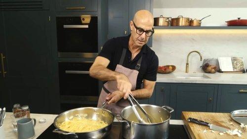 Stanley Tucci Humorously Prepares His Father's Recipe for Friday Night 'Spaghetti Aglio e Olio'