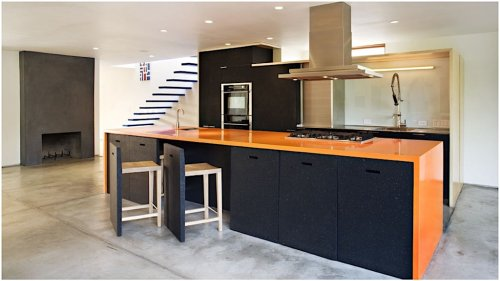 Cleverly Designed Counter Stools That Are Perfectly Hidden in the Kitchen Island When Not in Use