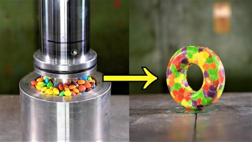 Making Donuts Out of Candy Using a Hydraulic Press