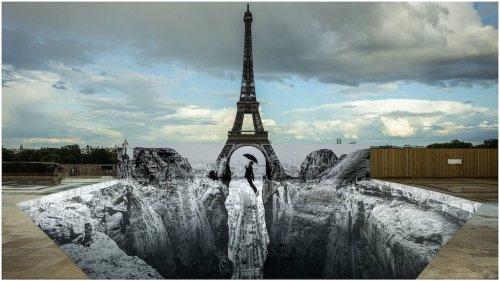 Street Artist JR Reveals the Terrain Hidden Beneath the Eiffel Tower With a Massive Anamorphic Optical Illusion