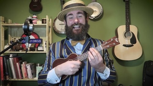 Old Timey Singer Performs an Acoustic Ukulele Version of His Forthright Ballad 'I've No More F***s To Give'