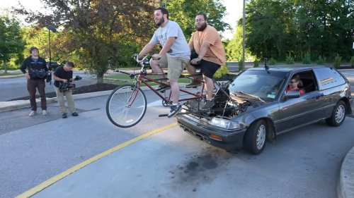 Mechanic Hilariously Alters a Small Car to Be Powered by a Modified Bicycle Built for Two