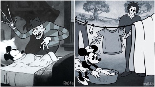 Early Disney Cartoon Characters Are Visited by Icons of Modern Horror Films in a Spooky Art Series