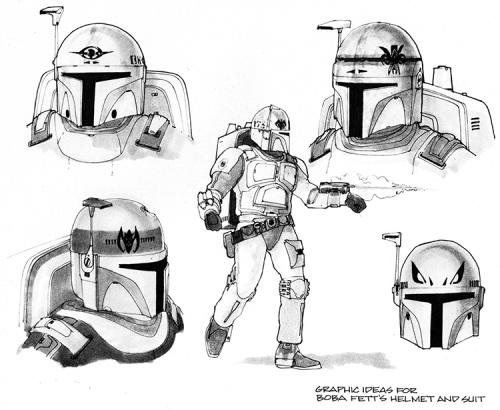 Original Concept Artwork for the Infamous 'Star Wars' Bounty Hunter Boba Fett