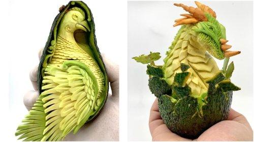 Elaborate Designs Carved Into Avocados