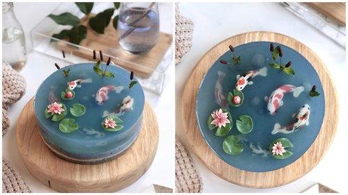 A Beautifully Realistic Koi Pond Cake