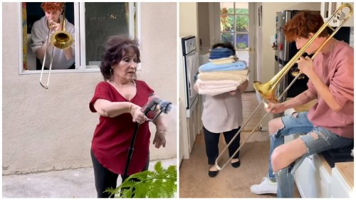 Musical Son Hilariously Adds Sound Effects to His Mother's Daily Life Using His Trombone